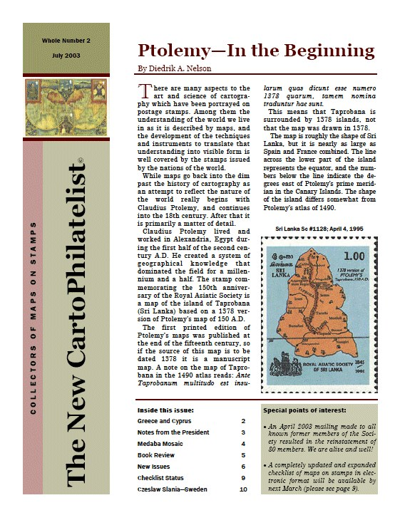 New Carto Philatelist Number 2 July 2003 Cover