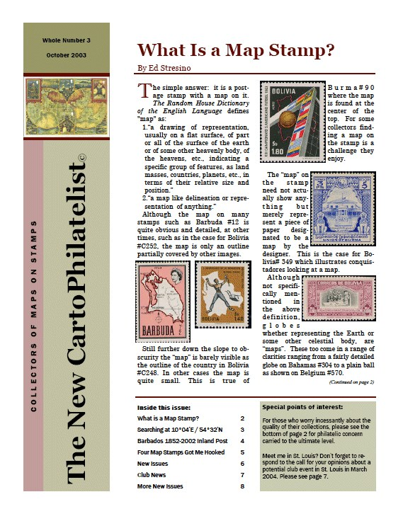 New Carto Philatelist Number 3 October 2003 Cover