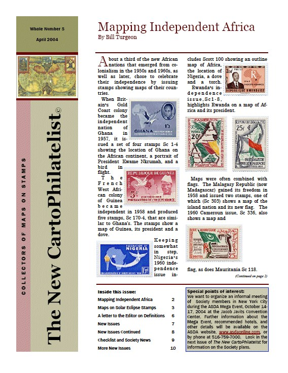New Carto Philatelist Number 5 April 2004 Cover
