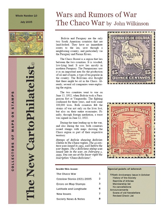 New Carto Philatelist Number 10 July 2005 Cover