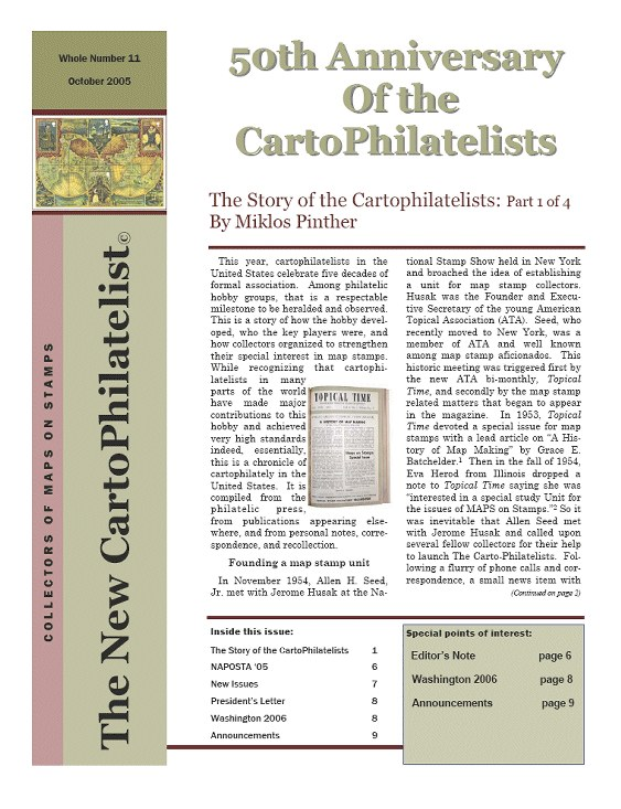 New Carto Philatelist Number 11 October 2005 Cover