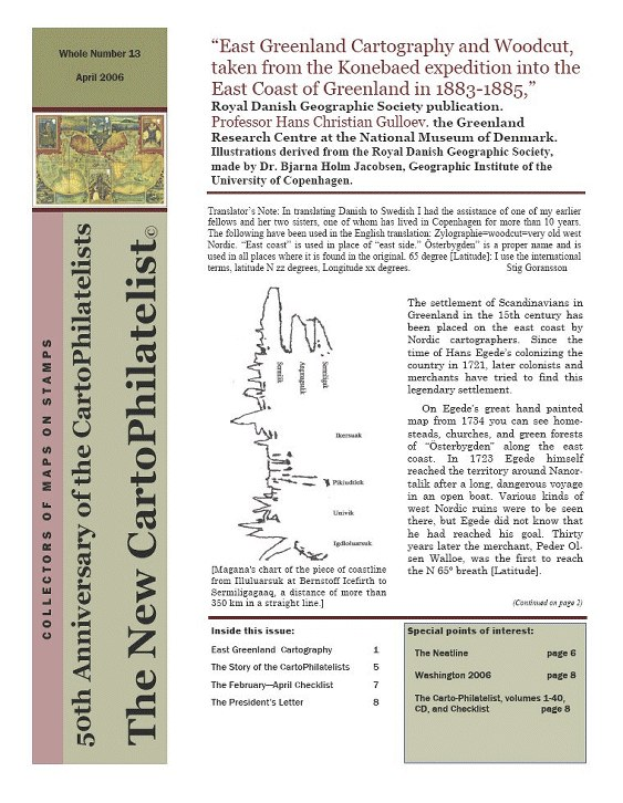 New Carto Philatelist Number 13 April 2006 Cover