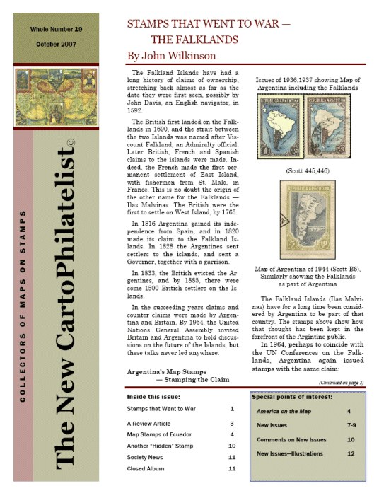 New Carto Philatelist Number 19 October 2007 Cover