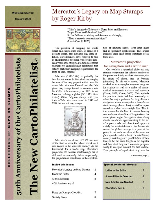 New Carto Philatelist Number 20 January 2008 Cover