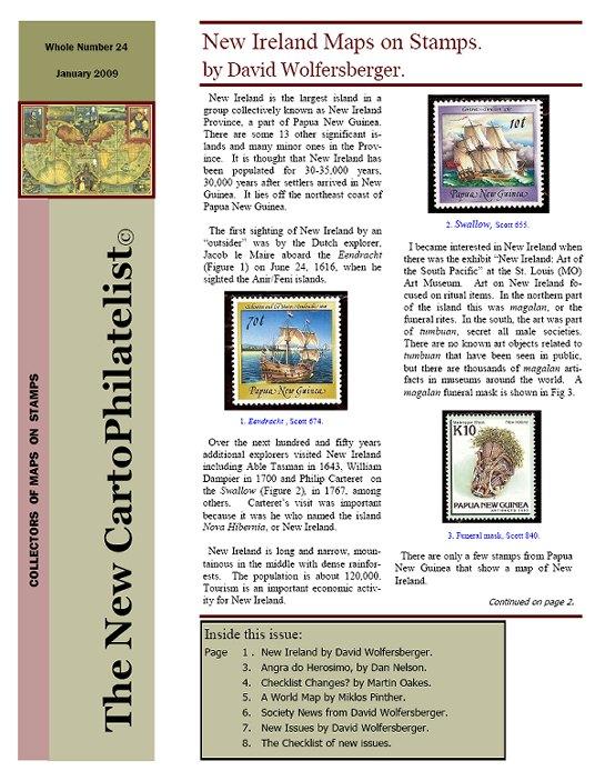 New Carto Philatelist Number 24 January 2009 Cover