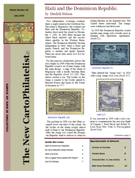 New Carto Philatelist Number 26 July 2009 Cover