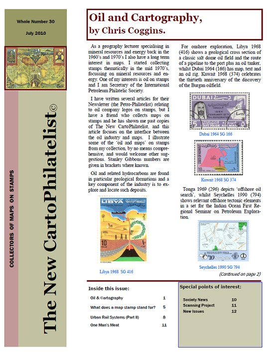New Carto Philatelist Number 30 July 2010 Cover