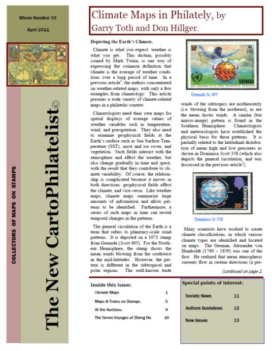 New Carto Philatelist Number 33 April 2011 Cover