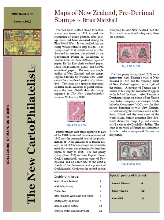 New Carto Philatelist Number 36 January 2012 Cover