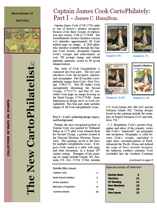 New Carto Philatelist Number 37 April 2012 Cover