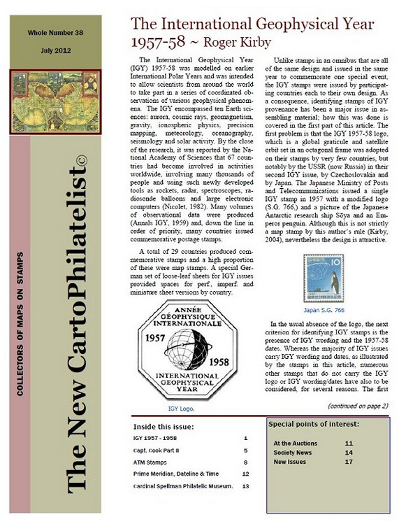 New Carto Philatelist Number 38 July 2012 Cover