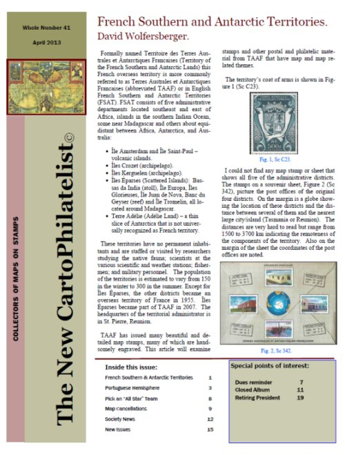 New Carto Philatelist Number 41 April 2013 Cover