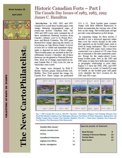 New Carto Philatelist Number 45 April 2014 Cover
