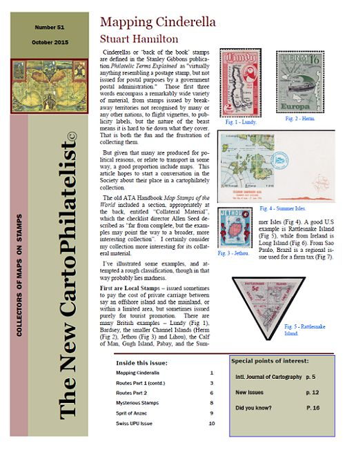New Carto Philatelist Number 51 October 2015 Cover