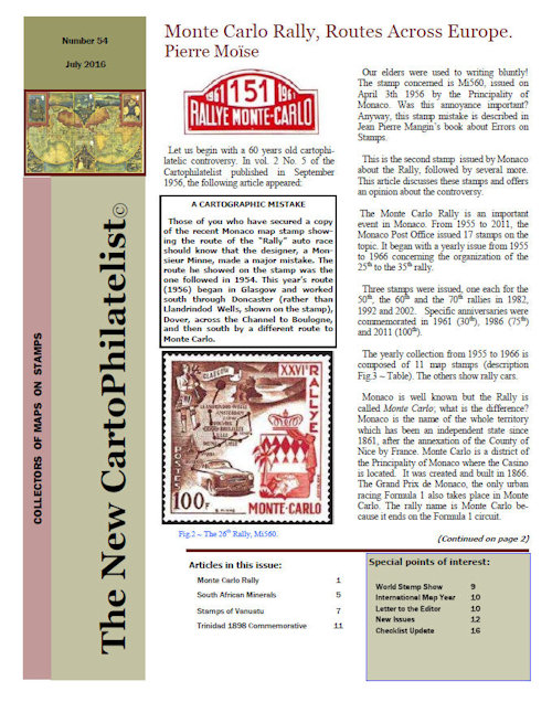 New Carto Philatelist Number 54 July 2016 Cover