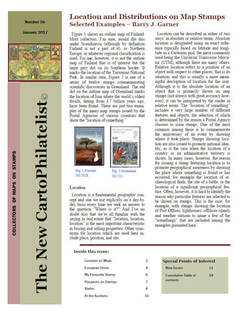 New Carto Philatelist Number 56 January 2017 Cover