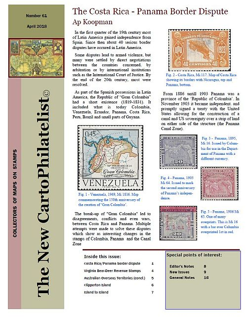 New Carto Philatelist Number 61 April 2018 Cover